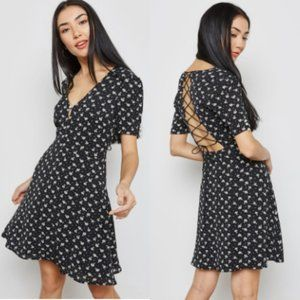 MNG MANGO Open Back Lace Up Floral Printed Dress 8